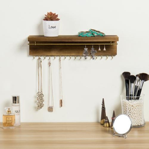 Modern Wood & Brass Jewelry Display Rack with Shelf