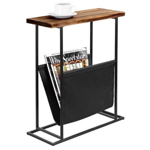 Modern Wood & Metal End Table with Magazine Holder Sling - MyGift