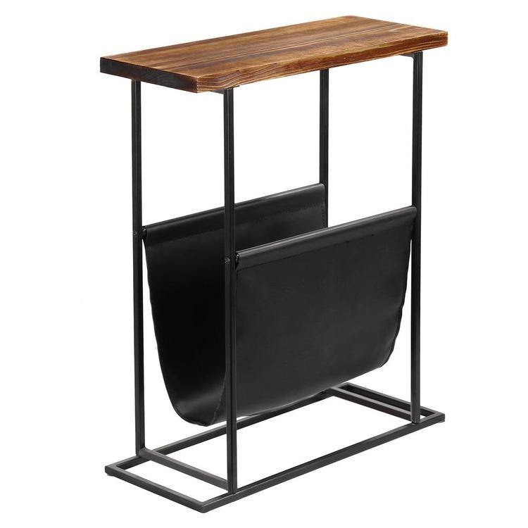 Brown Wood Black Metal End Table With Magazine Holder Mygift