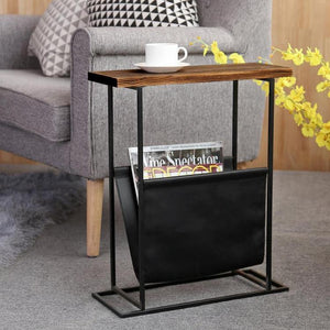 Modern Brown Wood & Black Metal End Table with Magazine Holder Sling