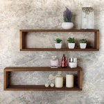Natural Wood 24-Inch Floating Shadow Box Shelves, Set of 2