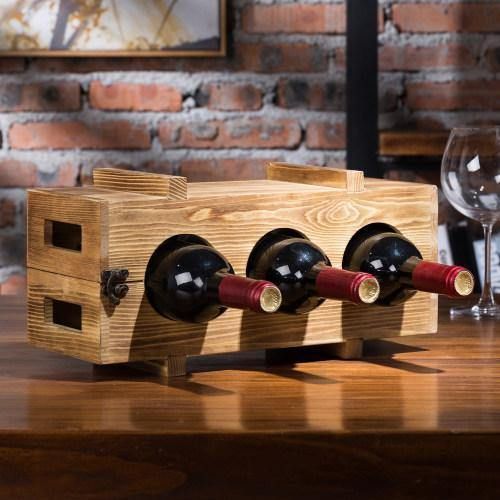 Natural Wood Multi-Functional Wine Rack - MyGift