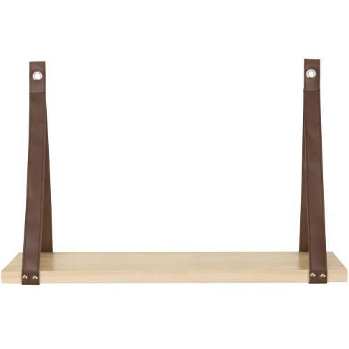 Natural Wood Shelf with Leatherette Hanging Straps