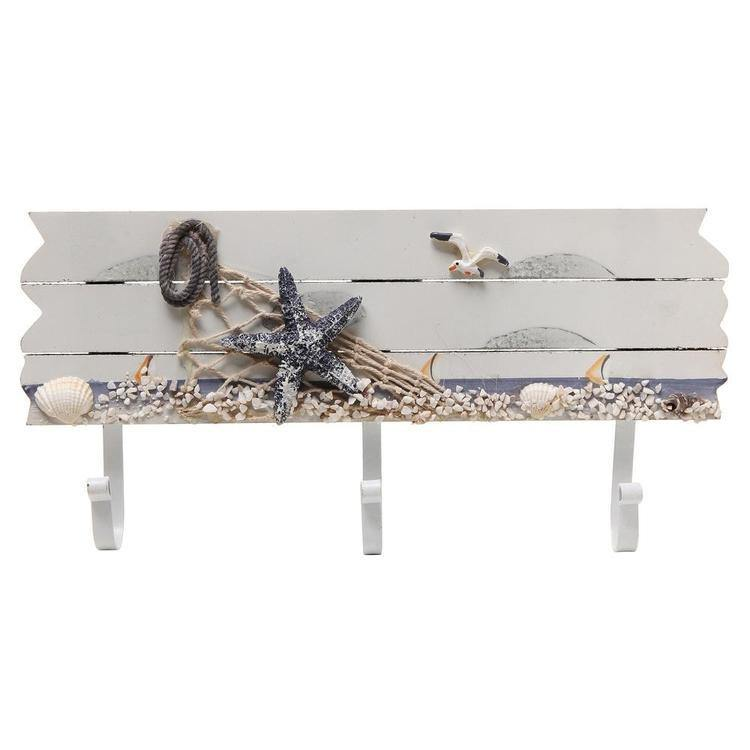 Starfish, Seagull & Seashells Sandy Beach Style Wood Wall Rack with 3 Metal Hooks - MyGift Enterprise LLC