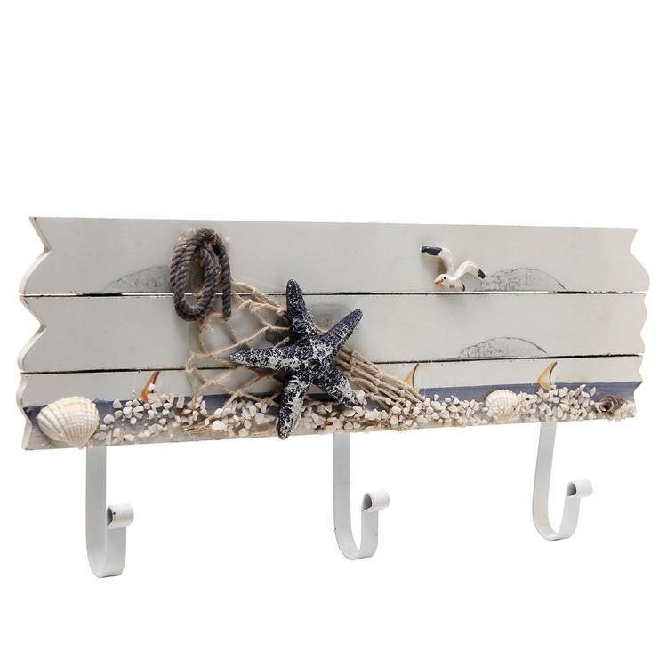 Nautical Beach Theme Wood Wall Rack