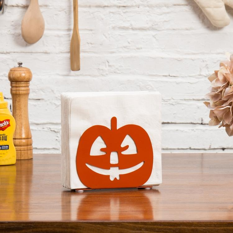 Orange Pumpkin Jack-O-Lantern Napkin Holder
