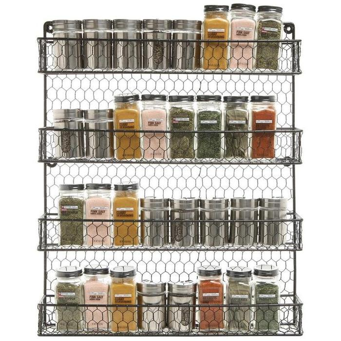 4-Tier Wall Mounted Rustic Chicken Wire Spice Rack Storage Organizer - MyGift Enterprise LLC