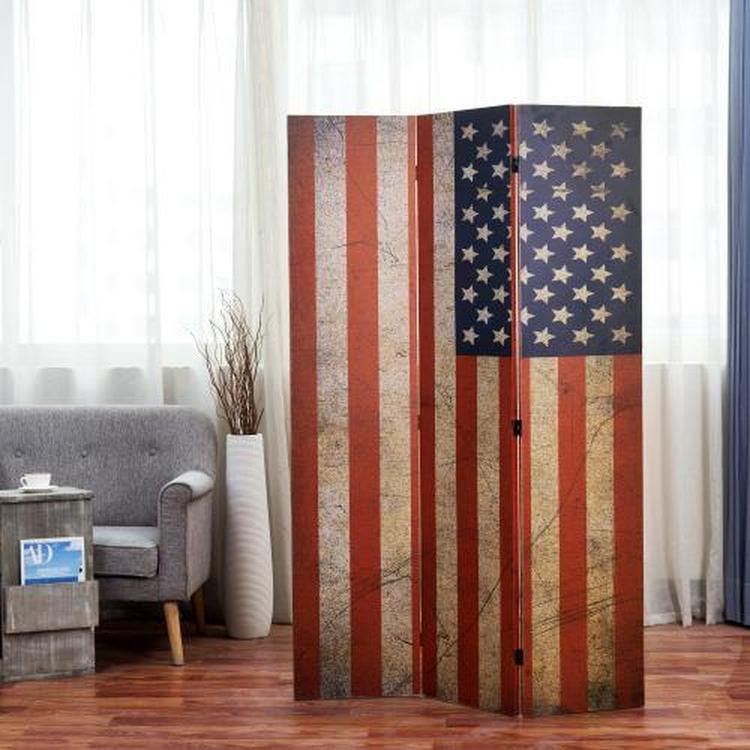 Patriotic 3-Panel Vintage Stars & Stripes Flag Wood Folding Screen Room Divider