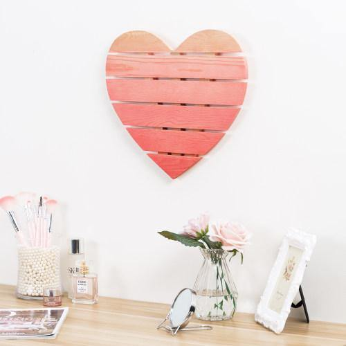 Pink Ombre Heart Shaped Wood Wall Decor Mygift