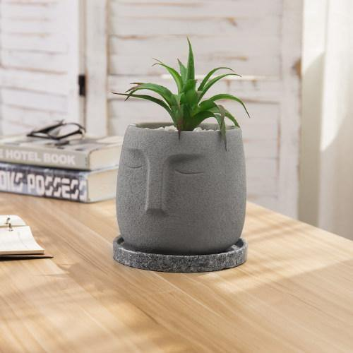 Polynesian-Inspired Cement Planter Pot with Saucer