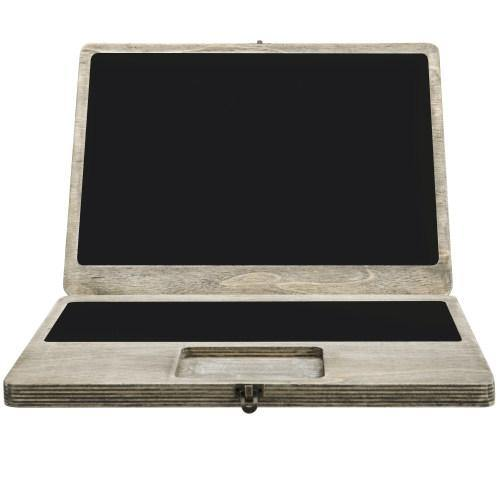 Portable Laptop-Shaped Chalkboard, Distressed Wood - MyGift