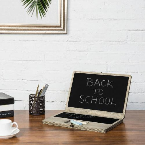 Portable Laptop-Shaped Chalkboard, Distressed Wood