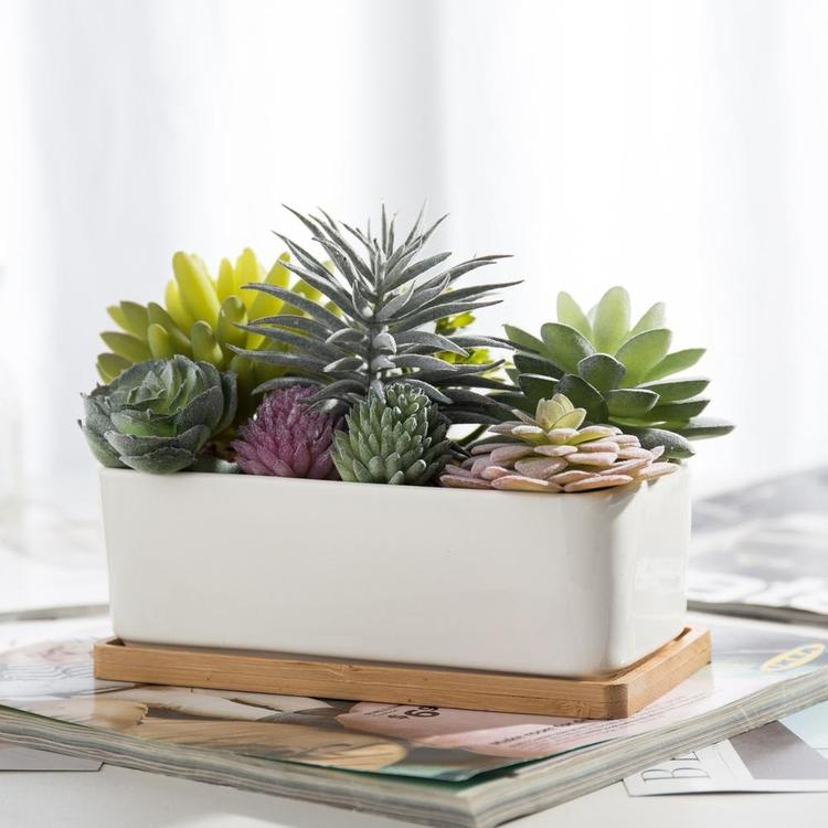 Potted Artificial Succulents in Ceramic Planter - MyGift Enterprise LLC