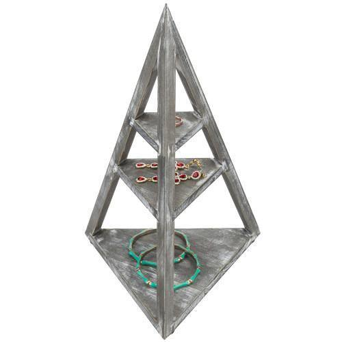 Pyramid-Shaped Gray Wood Jewelry & Trinket Display Stand Rack - MyGift