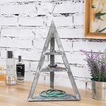 Pyramid-Shaped Gray Wood Jewelry & Trinket Display Stand Rack