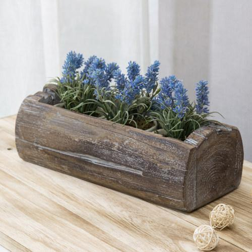 Reclaimed Style Solid Wood Log Rectangular Planter Pot