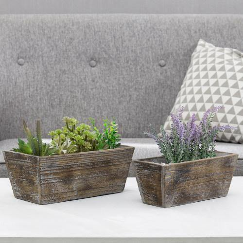 Reclaimed Wood Style Brown Rectangular Planter, Set of 2