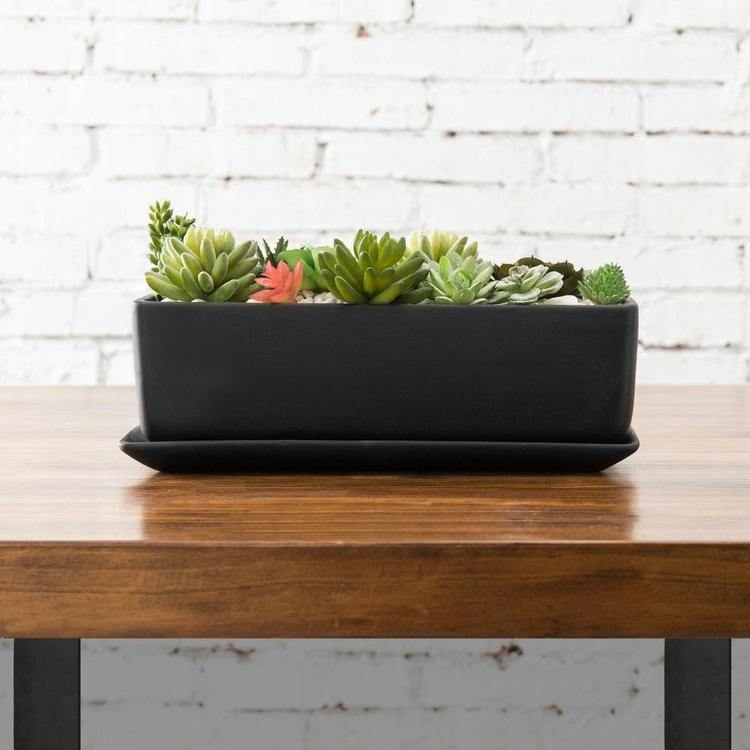 14-Inch Rectangular Modern Ceramic Succulent Planter Pot with Saucer, Black - MyGift Enterprise LLC