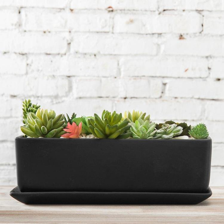 Rectangular Ceramic Succulent Planter with Saucer, Black