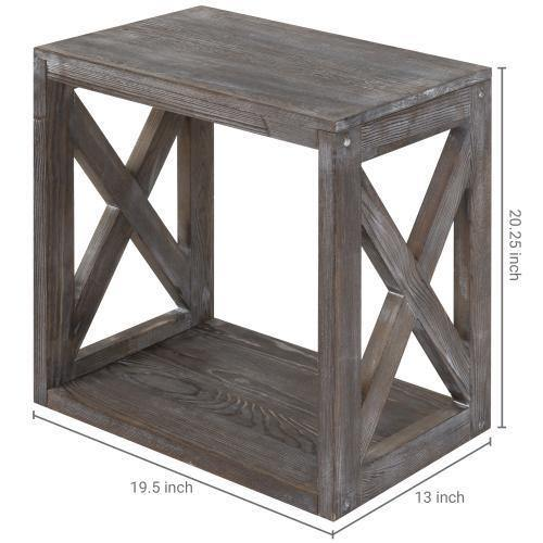 Rectangular Wood End Table with Vintage Gray Finish