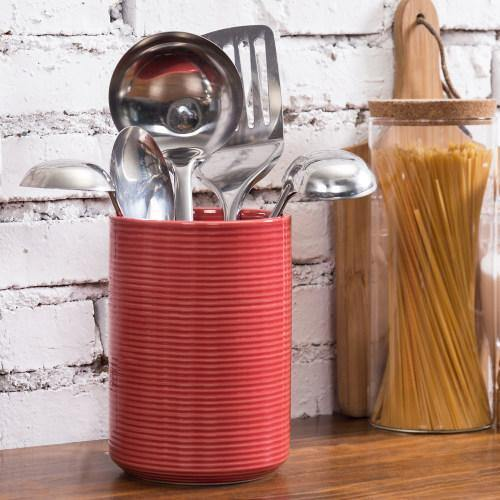 Red Ribbed Ceramic Kitchen Utensil Holder
