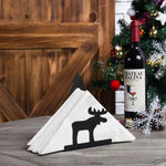 Reindeer & Christmas Tree Black Metal Napkin Holder