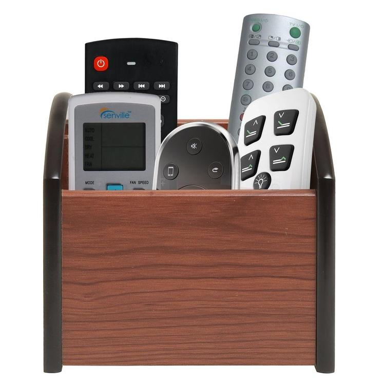 Revolving Wooden 4-Compartment Desktop Office Supplies Storage Organizer / Spinning Remote Control Caddy - MyGift Enterprise LLC