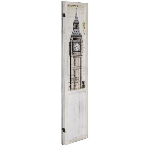 Room Divider with Whitewashed Wood and European Famous Landmarks - MyGift