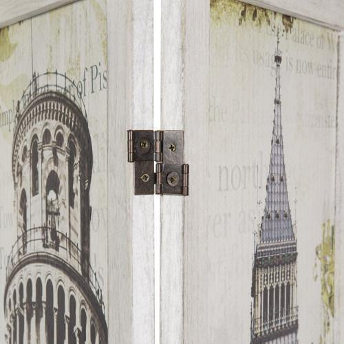 Room Divider with Whitewashed Wood and European Famous Landmarks