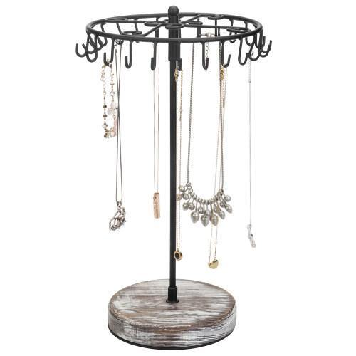 Rotating Black Metal Jewelry Organizer Tower with Torched Wood Base
