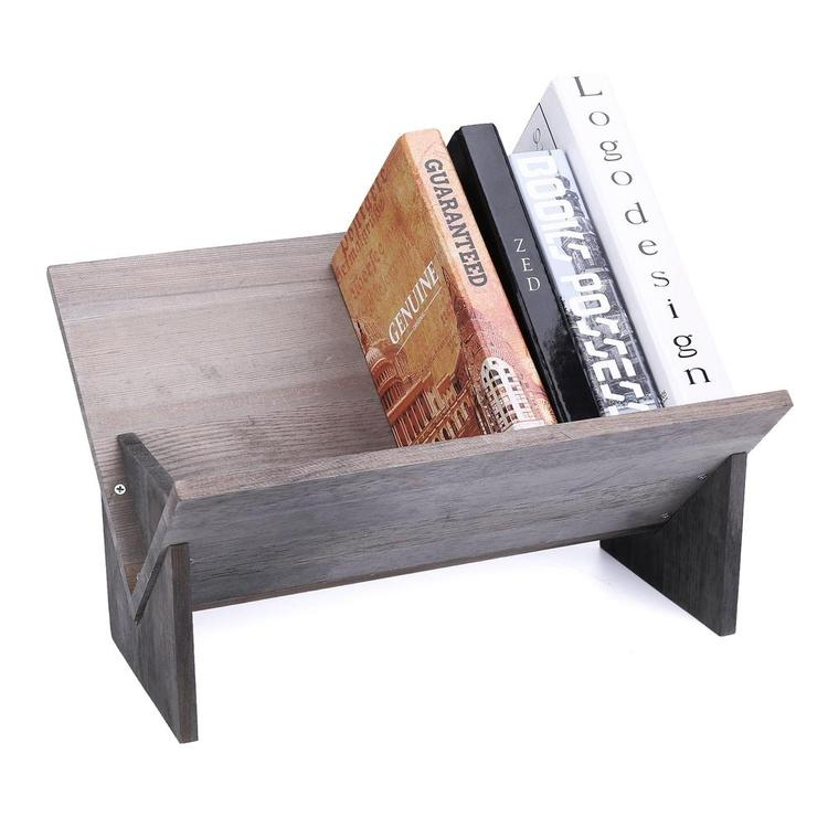 Rustic Barnwood Gray Tilted Desktop Bookshelf