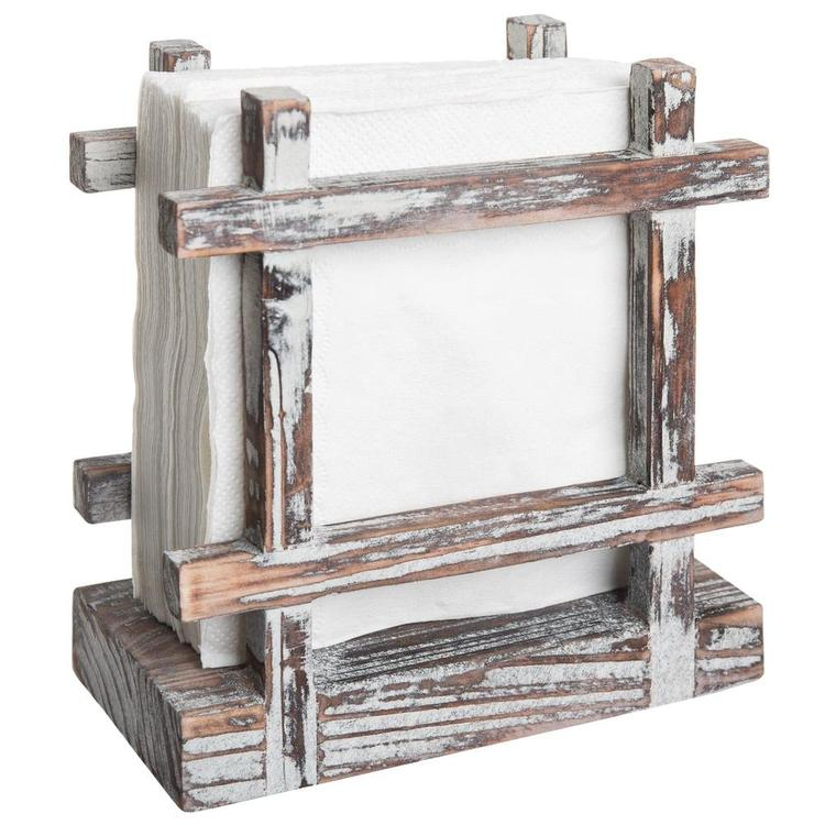 Rustic Barnwood Tabletop Napkin / Paper Towel Holder, Brown - MyGift Enterprise LLC