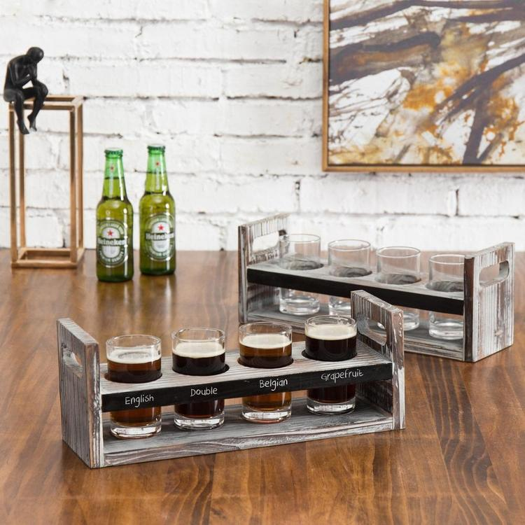 Set of 2 Torched Wood Beer Flight Serving Caddies with Chalkboard Panels & 4 Tasting Glasses - MyGift Enterprise LLC