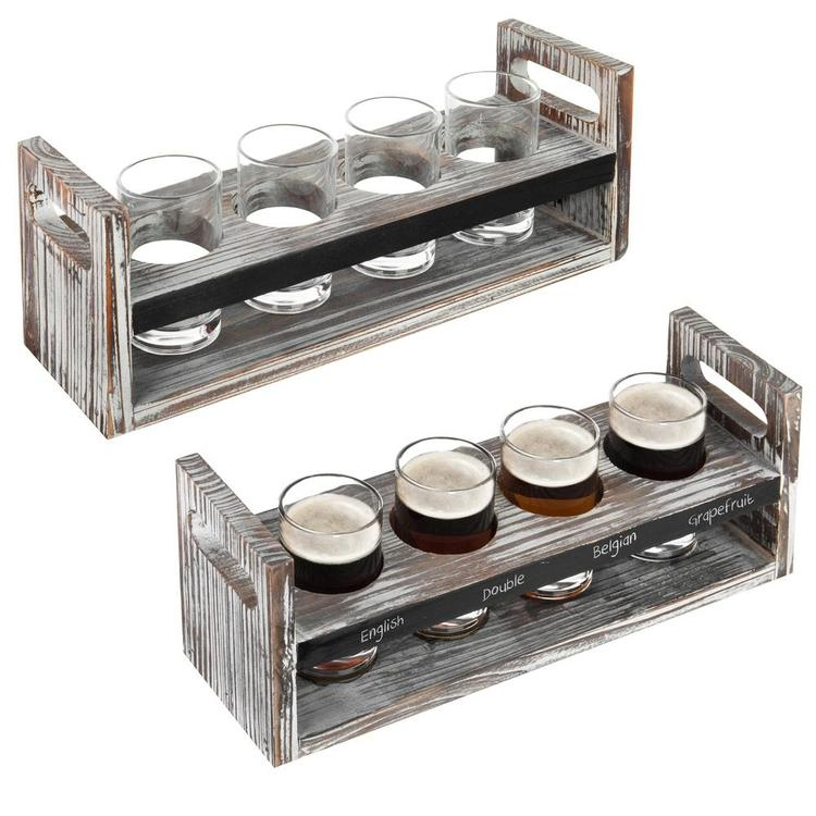 Rustic Beer Flight Trays with Glasses, Set of 2