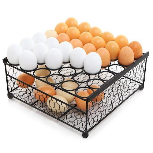 Rustic Black Chicken Wire 36 Eggs Display Tray and Storage Basket - MyGift