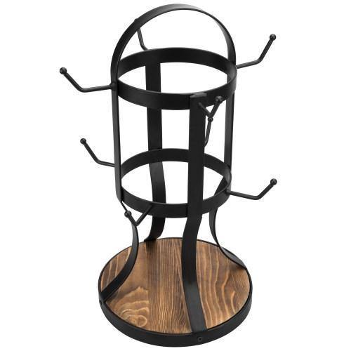 Rustic Black Metal & Burnt Wood Mug Rack - MyGift