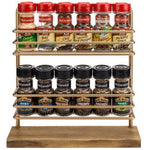 Rustic Brass Tone Metal & Burnt Wood Spice Rack - MyGift