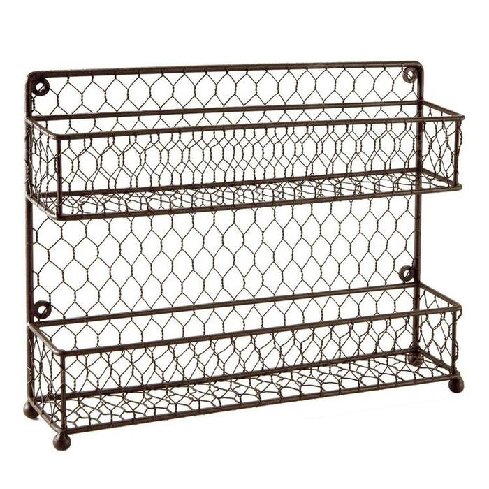 Rustic Brown Dual Tier Wire Spice Rack Jars Storage Organizer (Kitchen Countertop or Wall Mount) - MyGift Enterprise LLC