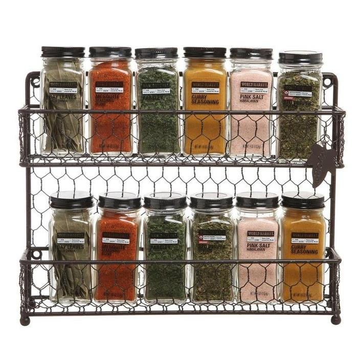 Rustic Brown Dual Tier Wire Spice Rack Jars Storage Organizer