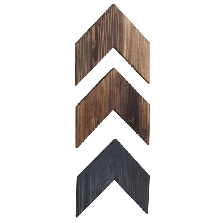 Rustic Brown Wood Chevron Wall-Mounted Decor, Set of 3 - MyGift Enterprise LLC