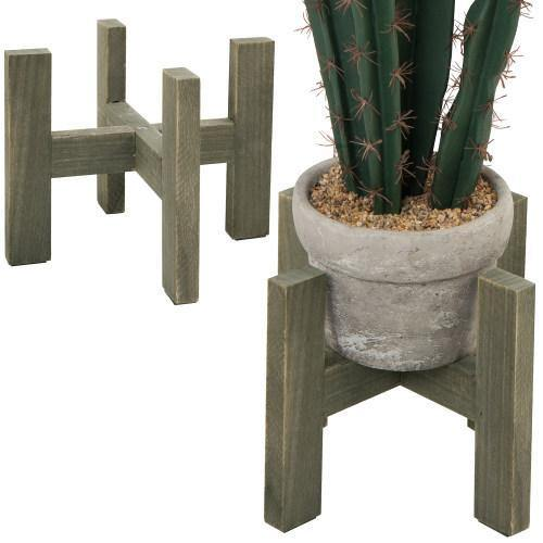 Rustic Brown Wood Flower Pot Stands, Set of 2 - MyGift