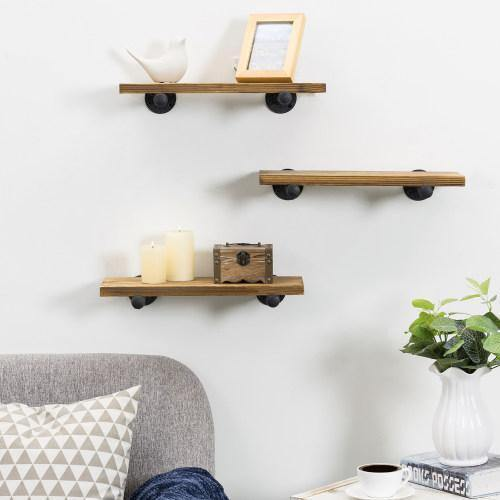Rustic Brown Wood & Metal Pipe Floating Shelves, Set of 3