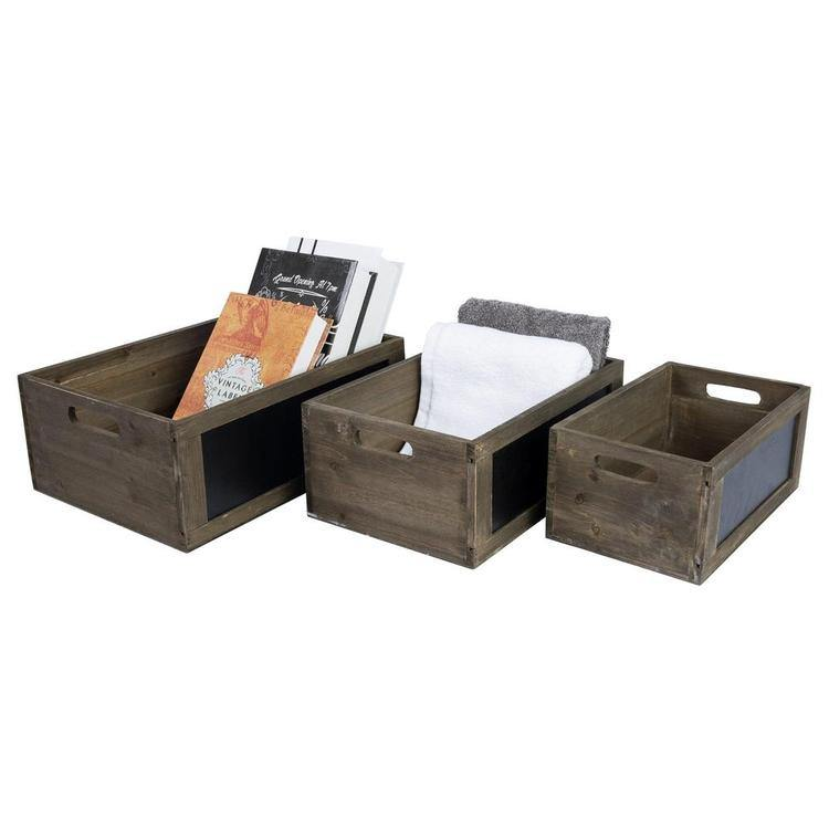 Brown Wood Nesting Storage Crates with Chalkboard Panel - MyGift