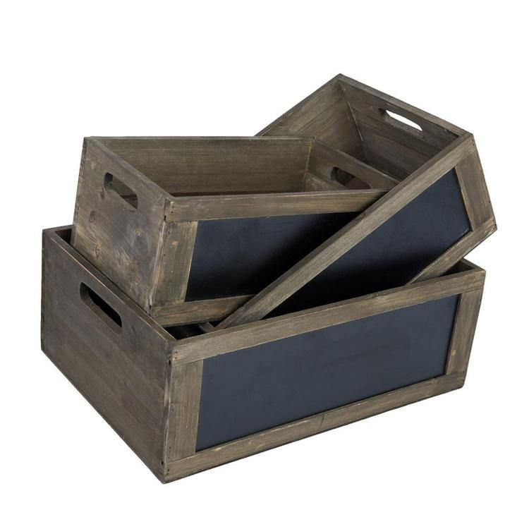 Rustic Brown Wood Nesting Storage Crates with Chalkboard Front Panel and Cutout Handles, Set of 3 - MyGift Enterprise LLC