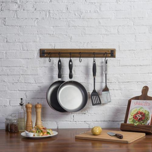 Rustic Brown Wood Pot & Pan Organizer Rack