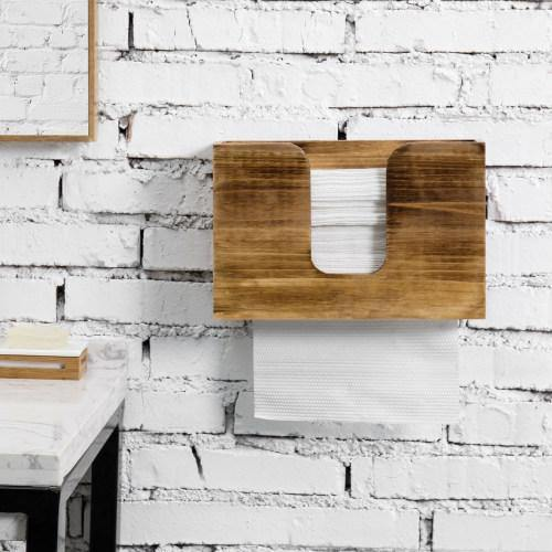 Rustic Burnt Solid Wood Wall Mounted Paper Towel Dispenser - MyGift