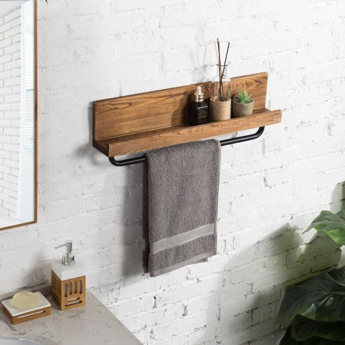 Rustic Burnt Wood & Metal Pipe Shelf with Towel Rack