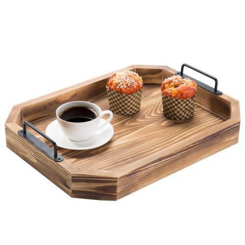 Rustic Burnt Wood Serving Tray with Metal Handles