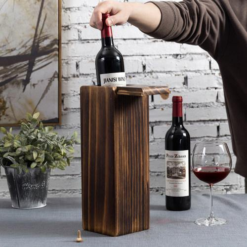 Rustic Burnt Wood Wine Holder & Gift Box with Slide Top