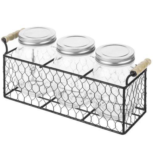 Rustic Chicken Wire Condiment/Utensil Caddy with Mason Jars - MyGift